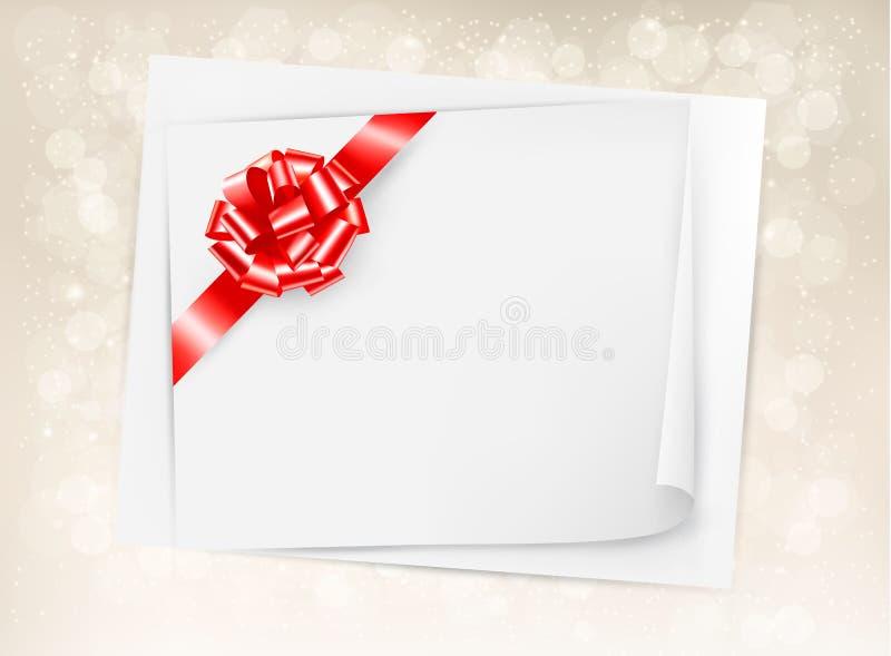 Предпосылка праздника рождества с смычком и нервюрой подарка бесплатная иллюстрация