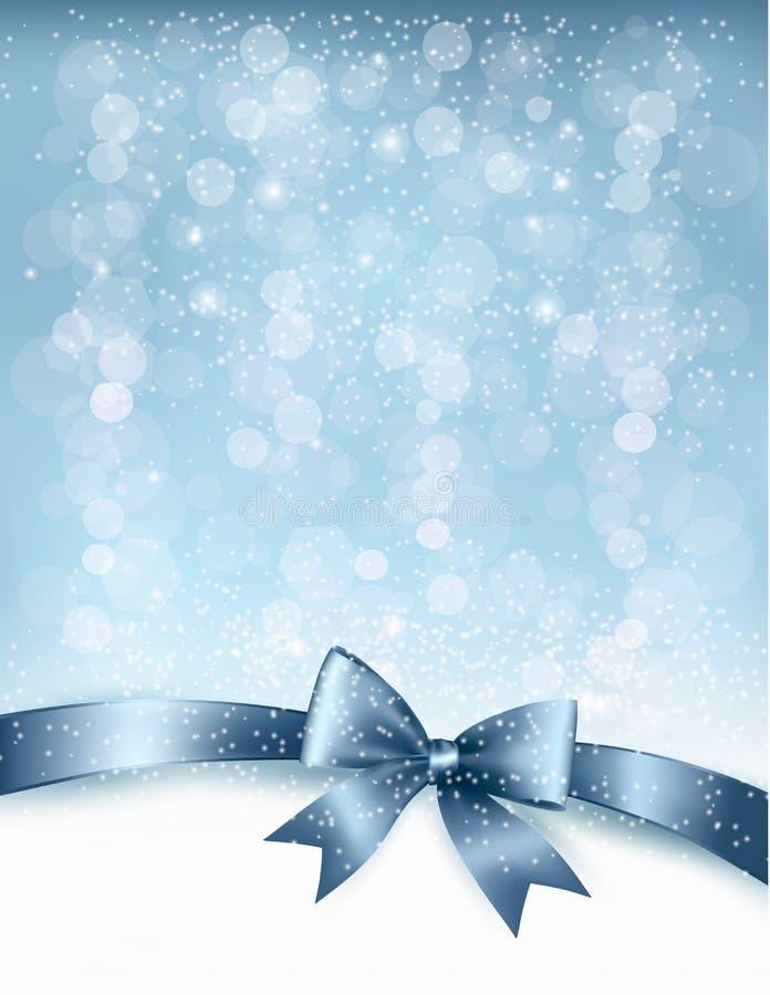 Предпосылка праздника рождества с смычком подарка лоснистым  иллюстрация штока