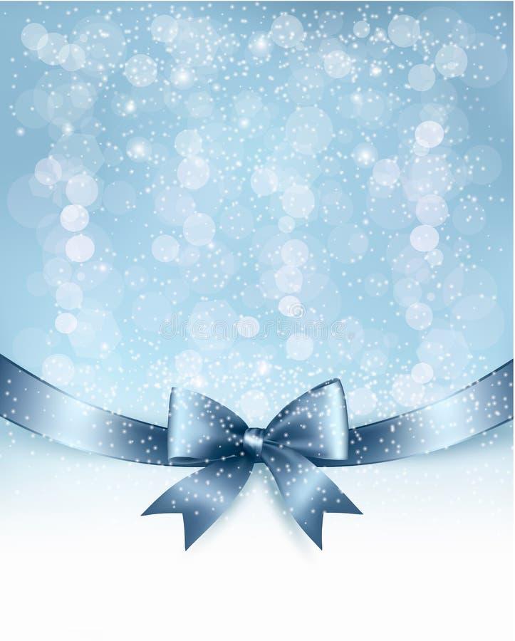 Предпосылка праздника рождества с смычком подарка лоснистым  иллюстрация вектора