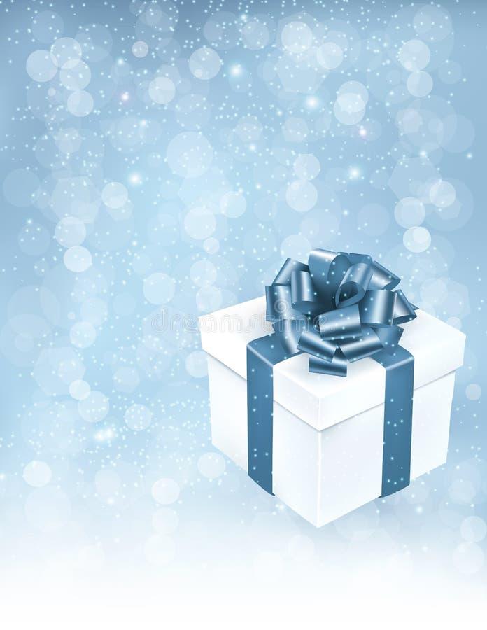 Предпосылка праздника с подарочной коробкой с смычком и ribb иллюстрация вектора
