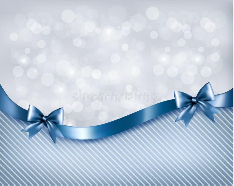 Предпосылка праздника с смычком и лентой подарка лоснистыми иллюстрация вектора