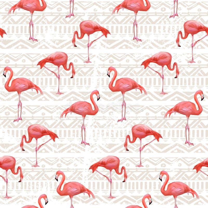 Предпосылка птицы фламинго вектор картины безшовный иллюстрация вектора