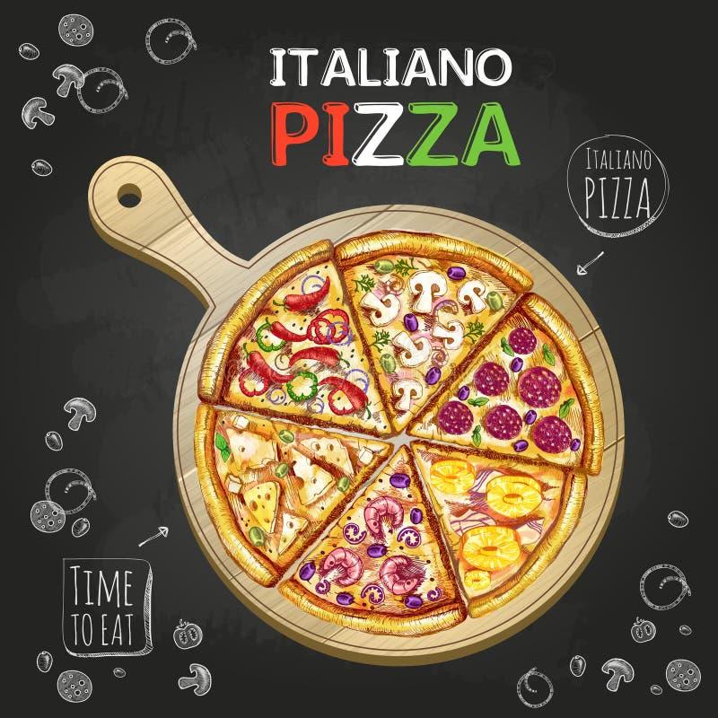 Предпосылка плаката пиццы Italiano бесплатная иллюстрация