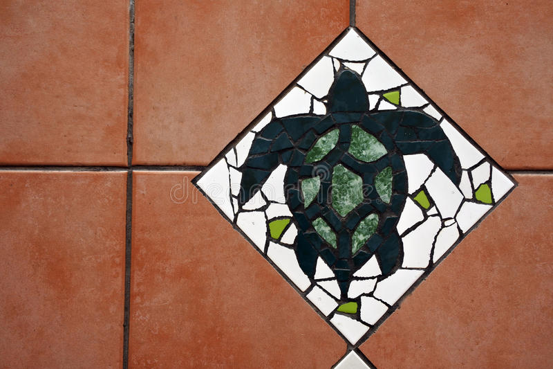 Предпосылка плиток пола морской черепахи Hawksbill стоковое изображение