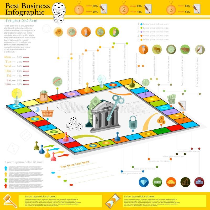 Предпосылка плоского дела infographic с финансовыми клетками игры настольной игры, костью, игрой соединяет, деньги, указатель, зн иллюстрация вектора