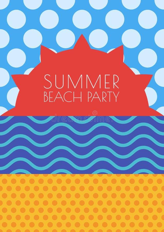 Предпосылка пляжа лета вектора Солнце, небо, море и песок с швом бесплатная иллюстрация