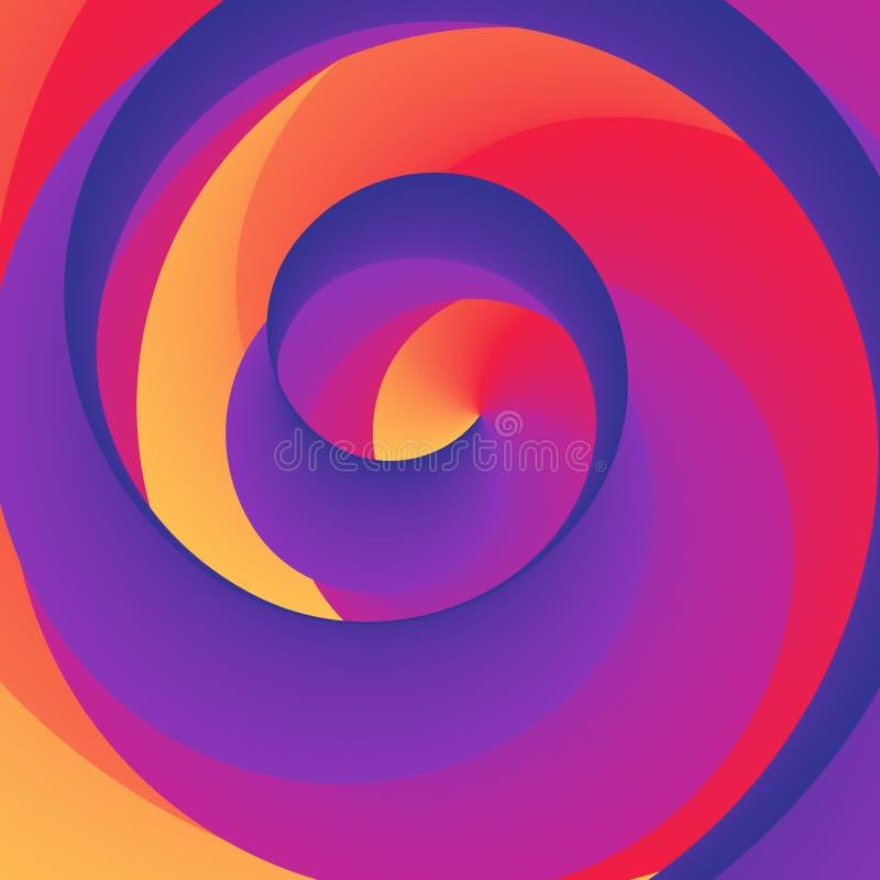 Предпосылка радуги Swirly спиральная красочная также вектор иллюстрации притяжки corel иллюстрация вектора