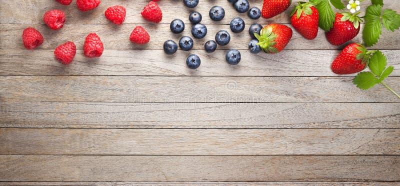 Предпосылка древесины знамени ягод стоковая фотография