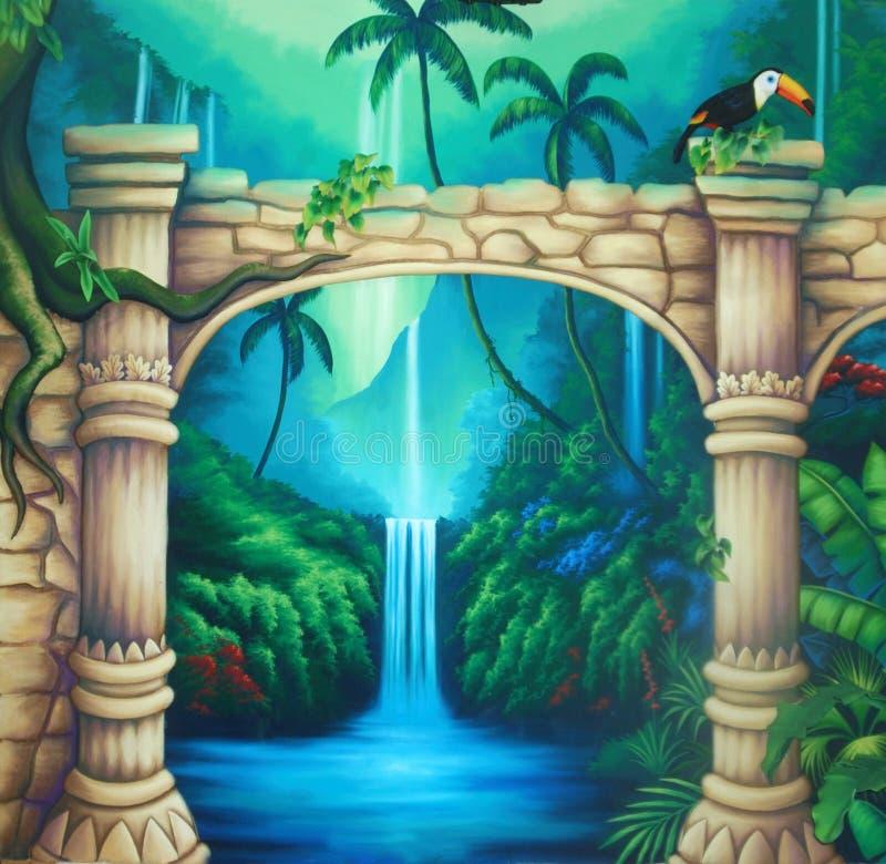 Предпосылка древнего храма иллюстрация штока