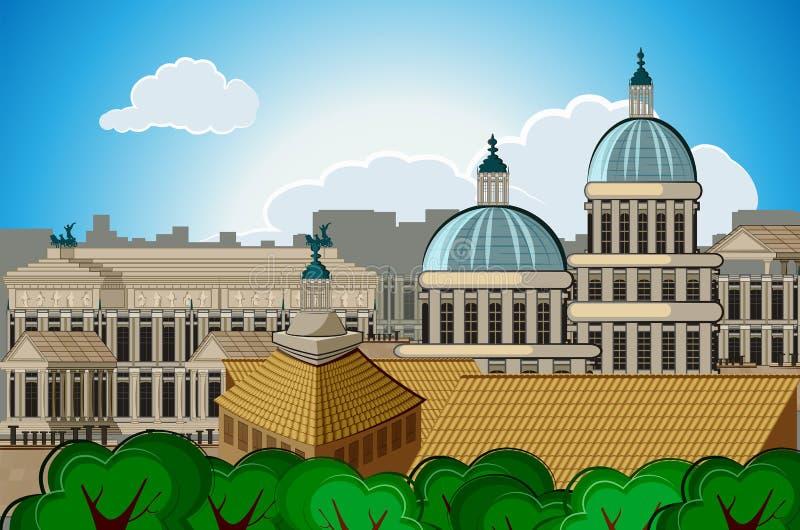 предпосылка Рима столицы города горизонта Европы иллюстрация вектора