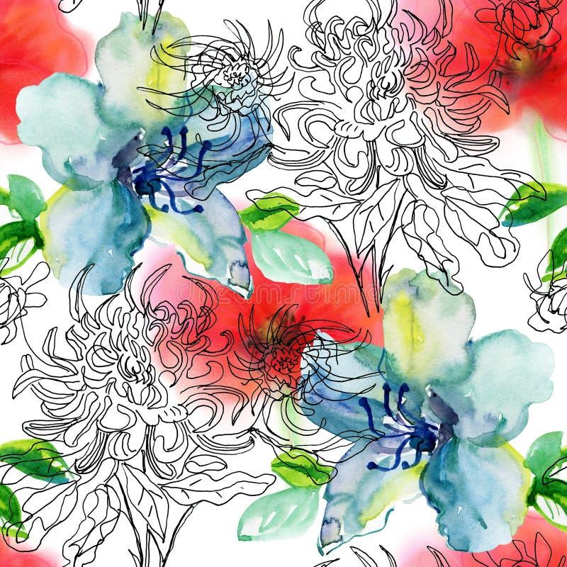 предпосылка рисуя вектор флористических цветков безшовный иллюстрация штока