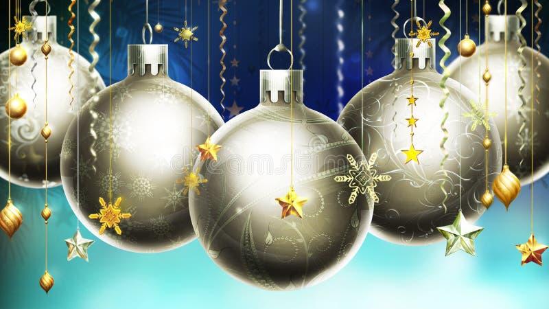 Предпосылка рождества абстрактная голубая с большим серебром украсила шарики на переднем плане. иллюстрация вектора