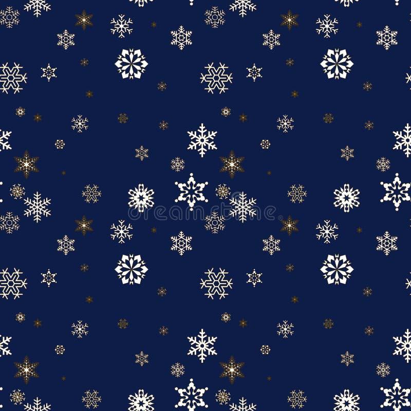 Предпосылка рождества безшовная с снежинками иллюстрация вектора