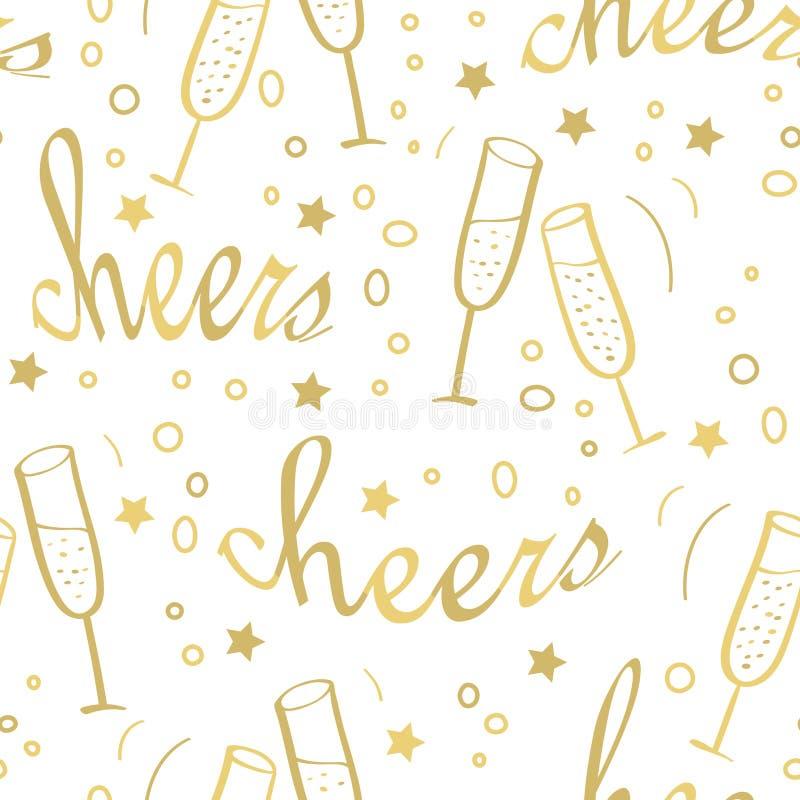 Предпосылка рождества безшовная с шампанским бесплатная иллюстрация