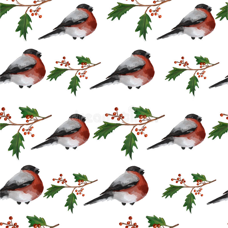 Предпосылка рождества безшовная с ягодами падуба бесплатная иллюстрация