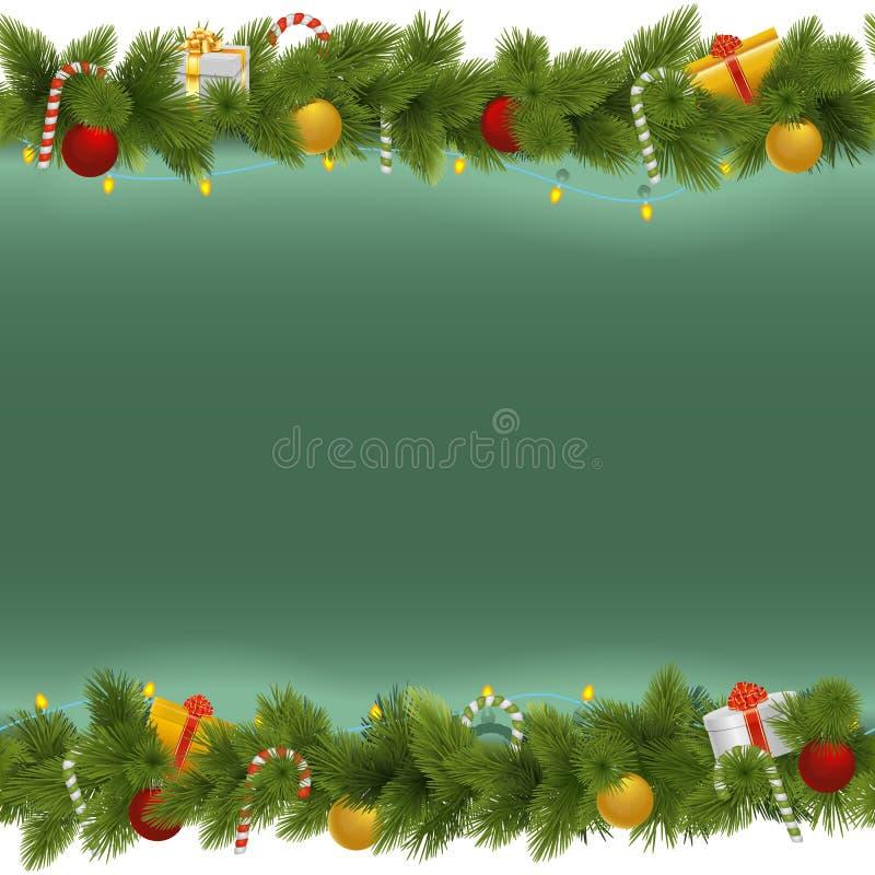 Предпосылка рождества вектора зеленая с гирляндой иллюстрация штока