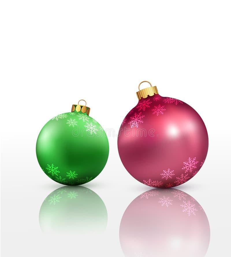 Предпосылка рождества вектора с 2 шариками бесплатная иллюстрация