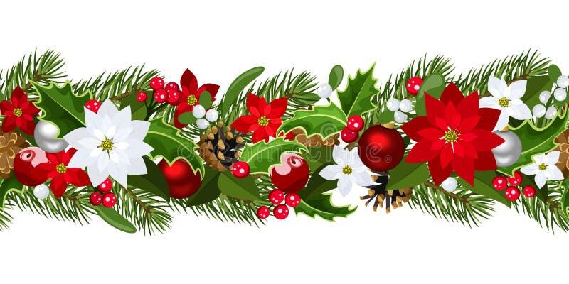 Предпосылка рождества горизонтальная безшовная. иллюстрация штока