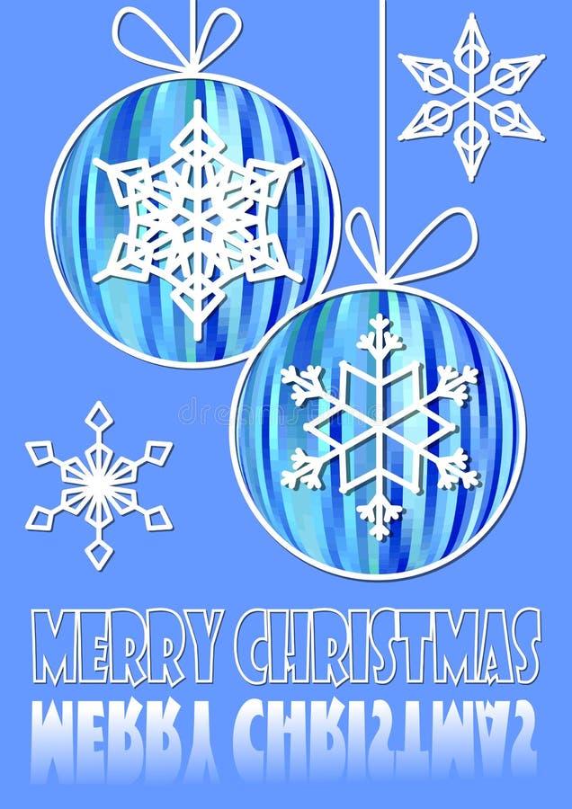 Предпосылка рождества голубая с 2 мотивами шариков и снежинки рождества бесплатная иллюстрация