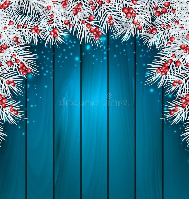 Предпосылка рождества деревянная с хворостинами ели бесплатная иллюстрация