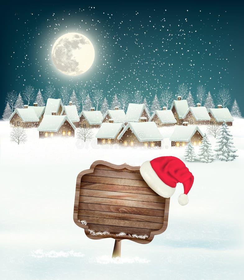 Предпосылка рождества зимнего отдыха с деревней иллюстрация штока
