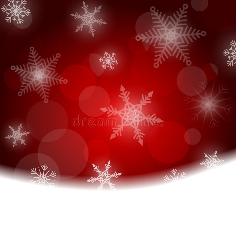 Предпосылка рождества - красный цвет с белыми снежинками иллюстрация вектора