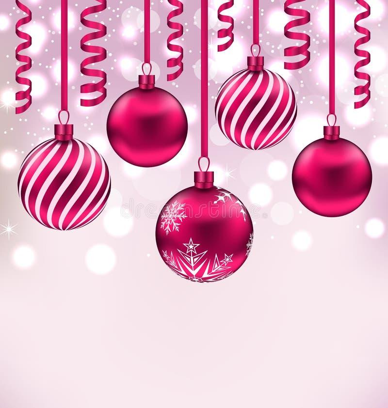 Предпосылка рождества мерцающая с шариками и лентой иллюстрация вектора