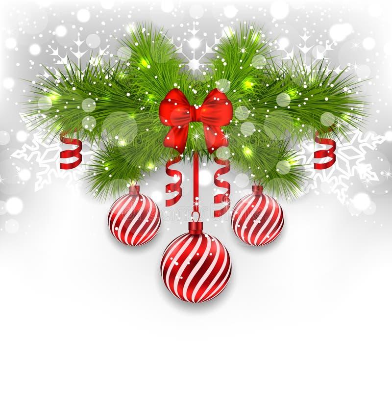 Предпосылка рождества накаляя с елью разветвляет, стеклянные шарики, нервюра иллюстрация штока