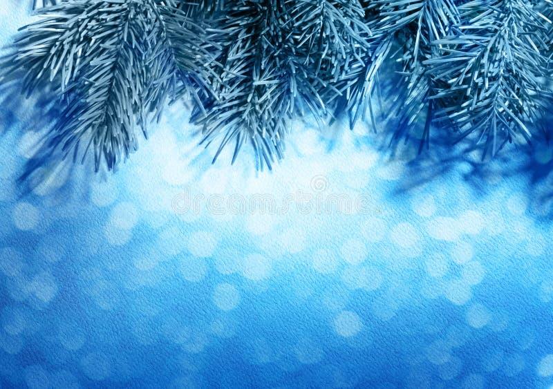 Предпосылка рождества нерезкости голубая с елью стоковое изображение
