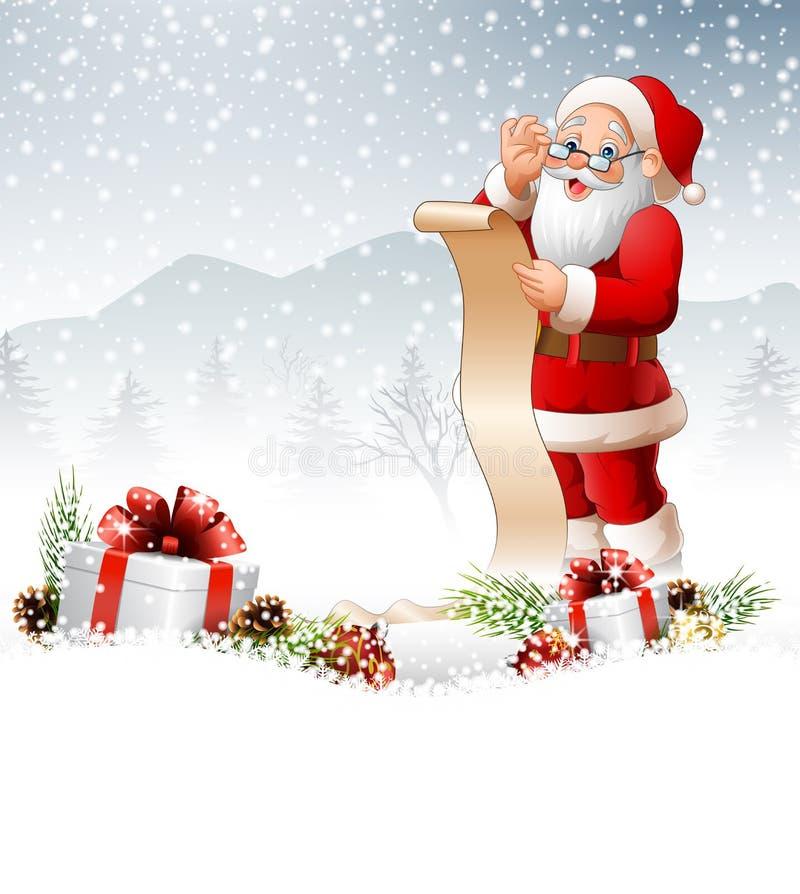 Предпосылка рождества при Санта Клаус читая длинный список подарков бесплатная иллюстрация