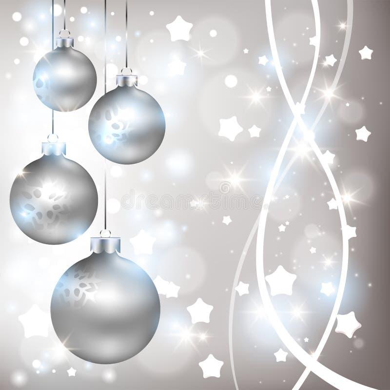 Предпосылка рождества сияющая серебряная с шариками бесплатная иллюстрация