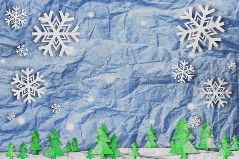 Предпосылка рождества, снежинка с снегом и рождественская елка, стиль отрезка бумаги сделанный из скомканной бумаги бесплатная иллюстрация