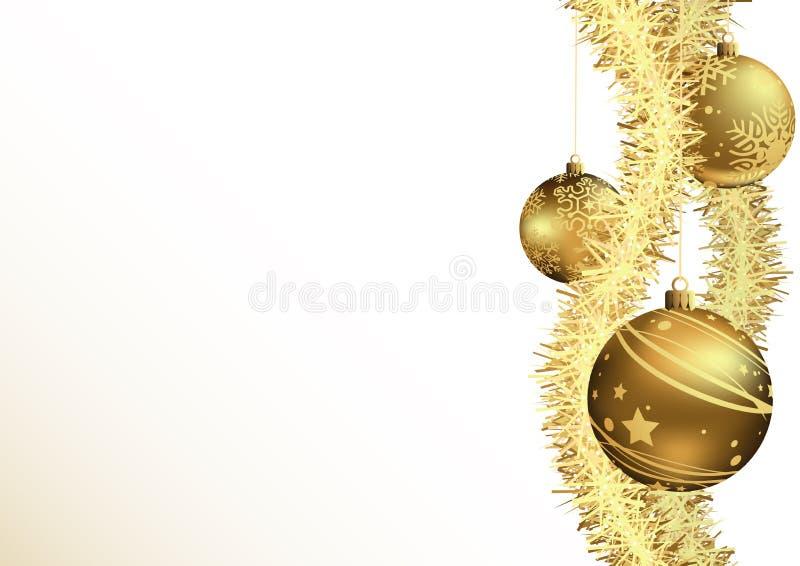 Предпосылка рождества с безделушками золота бесплатная иллюстрация