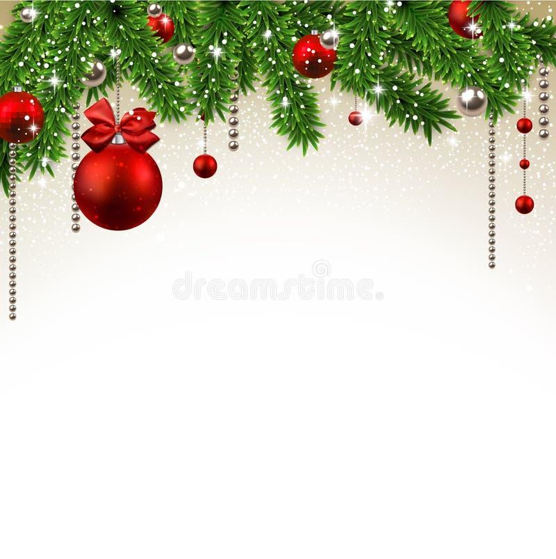 Предпосылка рождества с ветвями и шариками ели. иллюстрация вектора