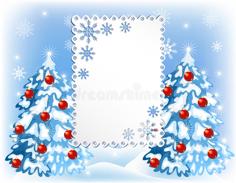 Предпосылка рождества с деревьями меха иллюстрация штока