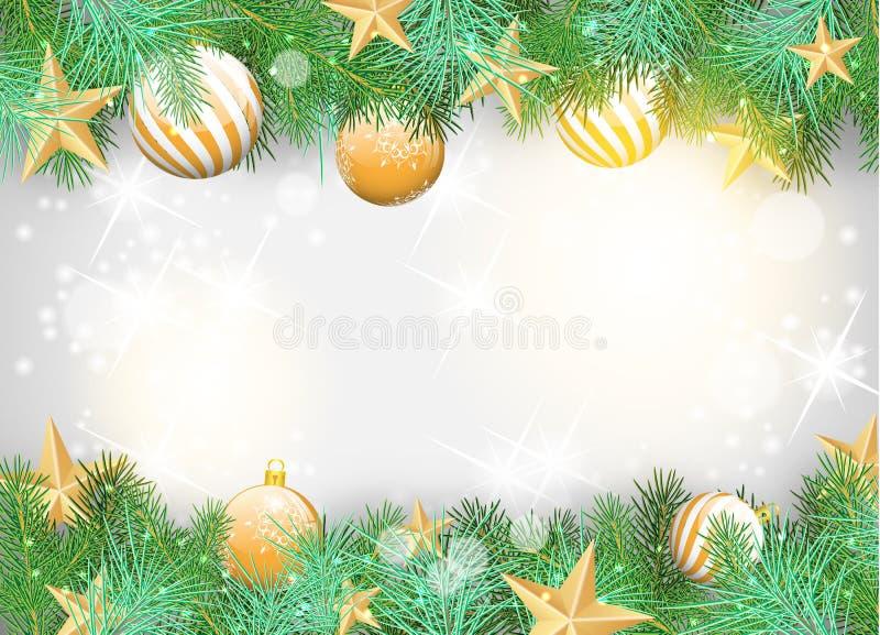 Предпосылка рождества с желтыми орнаментами и ветвями иллюстрация штока