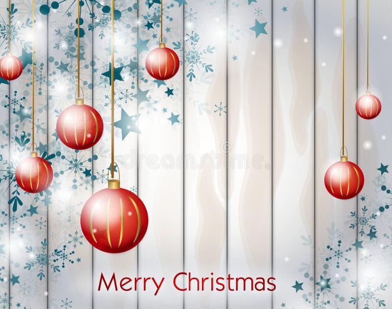 Предпосылка рождества с красными шариками рождества иллюстрация вектора