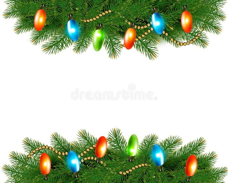 Предпосылка рождества с красочными гирляндой и елью иллюстрация штока