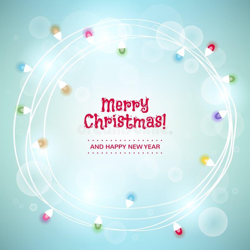 Предпосылка рождества с красочными светлыми гирляндами иллюстрация штока