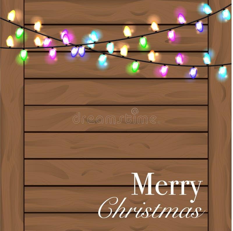 Предпосылка рождества с красочным светом Предпосылка древесины Planked стоковые изображения