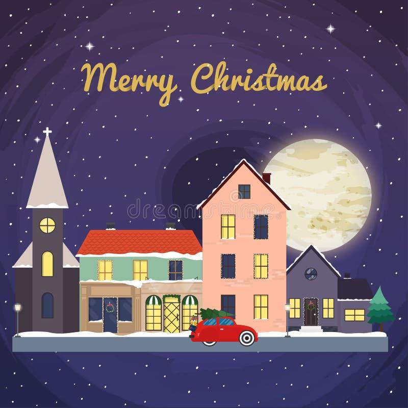 Предпосылка рождества с домами сказки зима температуры России ландшафта 33c января ural V иллюстрация вектора