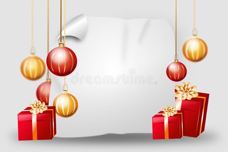 Предпосылка рождества с подарками и шариками иллюстрация штока