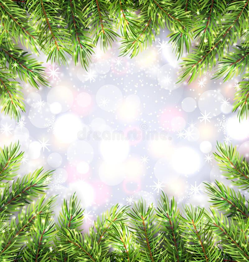 Предпосылка рождества с рамкой ветвей ели бесплатная иллюстрация