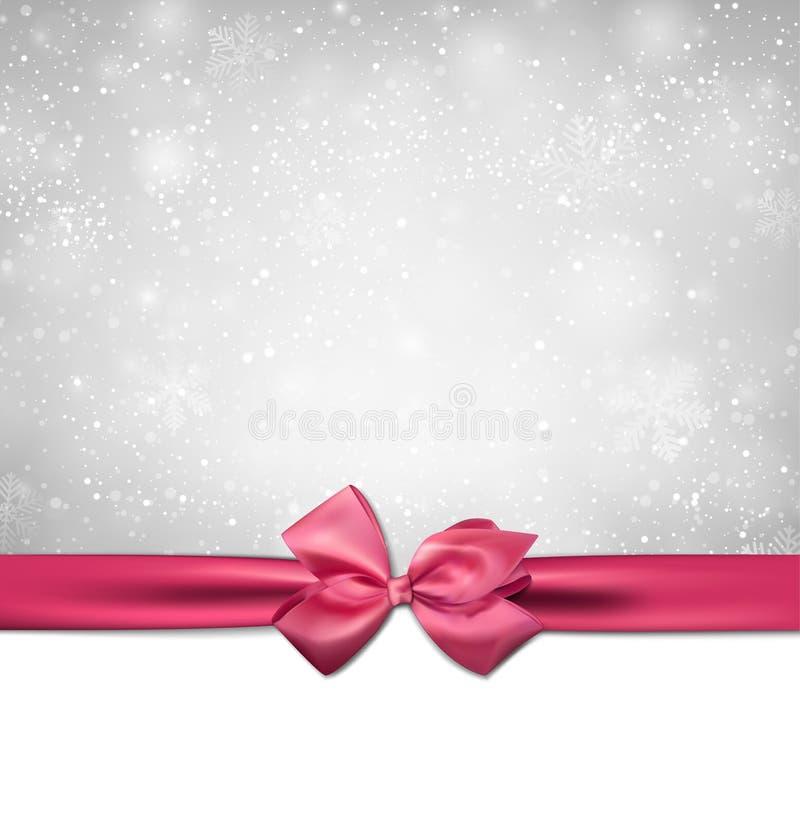 Предпосылка рождества с розовым смычком. бесплатная иллюстрация