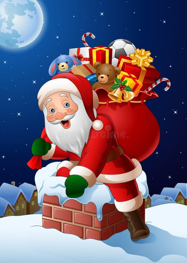 Предпосылка рождества с Санта Клаусом входит в дом через печную трубу иллюстрация вектора