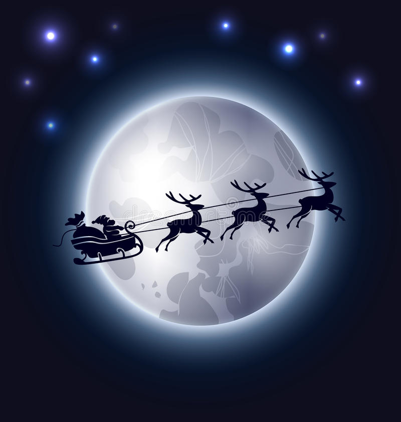 Предпосылка рождества с Санта Клаусом и луной бесплатная иллюстрация