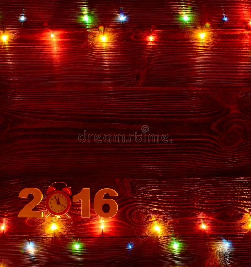 Предпосылка рождества с светами рождества на деревянных планках стоковое изображение rf