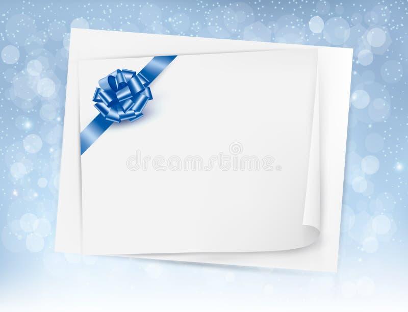 Предпосылка рождества с смычком и ribb подарка лоснистыми иллюстрация штока