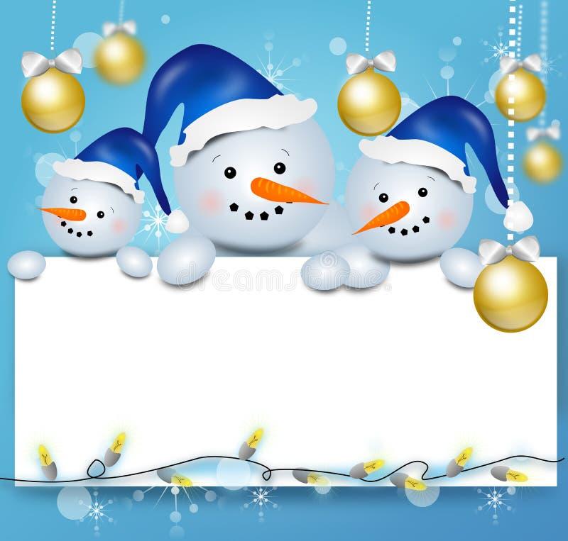 Предпосылка рождества с 3 снеговиками иллюстрация штока
