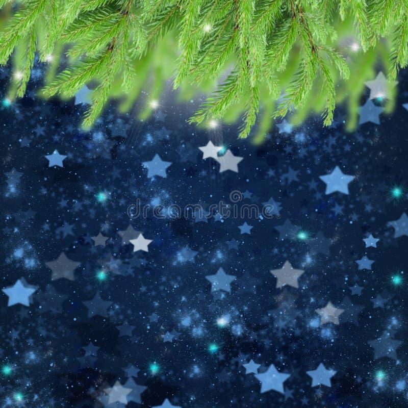 Предпосылка рождества с traa и звездами ели стоковое изображение